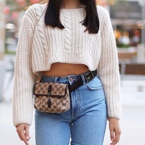 UNIF Knitted Cream/Beige Cropped Sweater